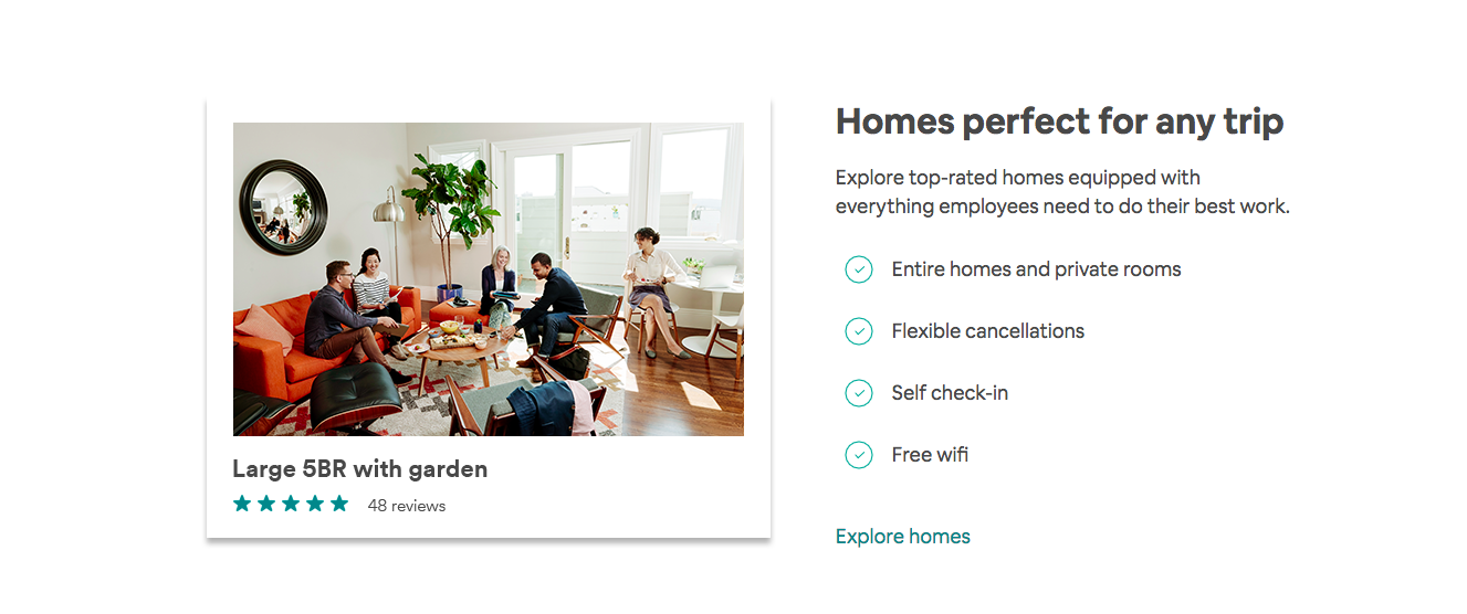 Airbnb for work for business travelers